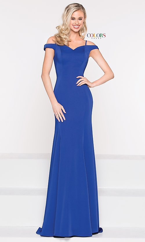 Image of off-the-shoulder sweetheart evening dress. Style: CD-2017 Detail Image 7