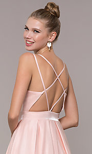 Image of long strappy-back ball-gown-style formal prom dress. Style: CD-2062 Detail Image 2