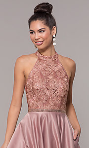 Image of high-neck embroidered-bodice open-back prom dress. Style: CD-GL-G835 Detail Image 1