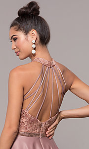 Image of high-neck embroidered-bodice open-back prom dress. Style: CD-GL-G835 Detail Image 2