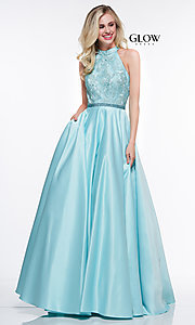 Image of high-neck embroidered-bodice open-back prom dress. Style: CD-GL-G835 Detail Image 3