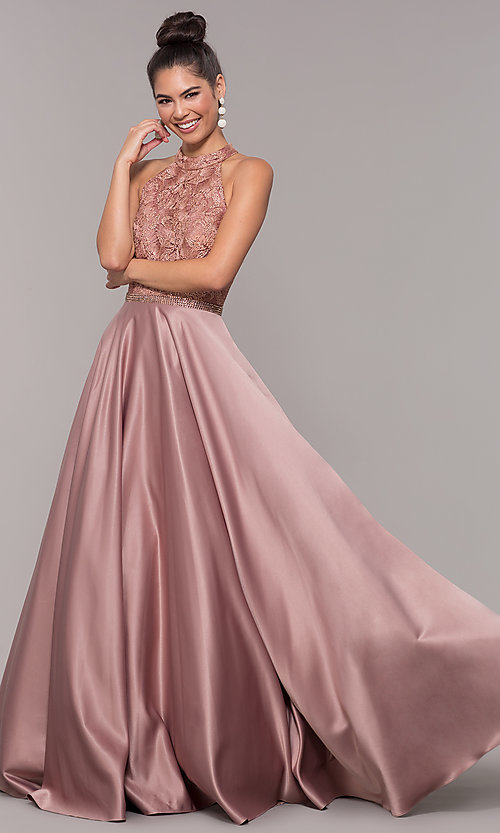 Image of high-neck embroidered-bodice open-back prom dress. Style: CD-GL-G835 Front Image