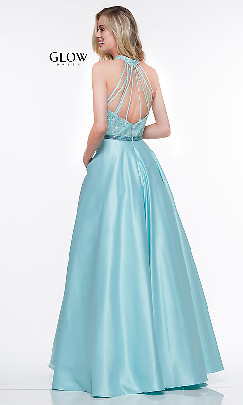Image of high-neck embroidered-bodice open-back prom dress. Style: CD-GL-G835 Detail Image 4