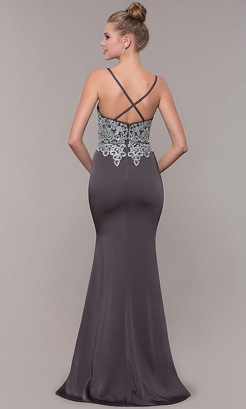 Image of long prom dress with metallic-embroidered applique. Style: CD-GL-G823 Detail Image 4