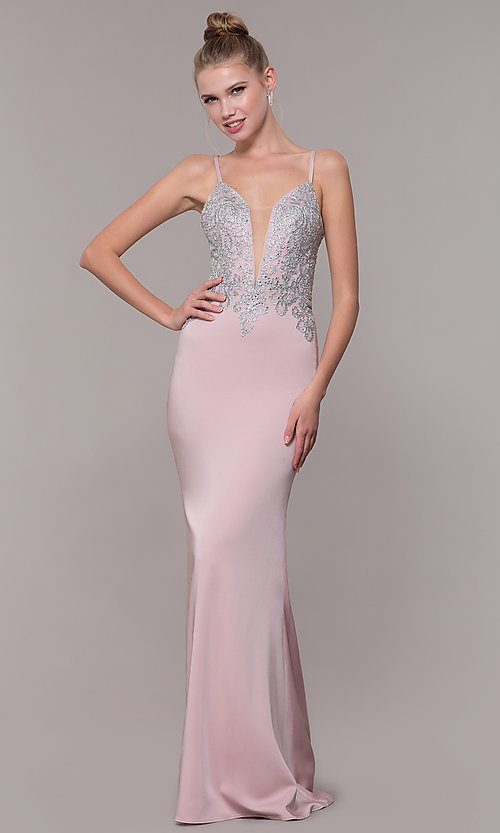 Image of long prom dress with metallic-embroidered applique. Style: CD-GL-G823 Detail Image 1