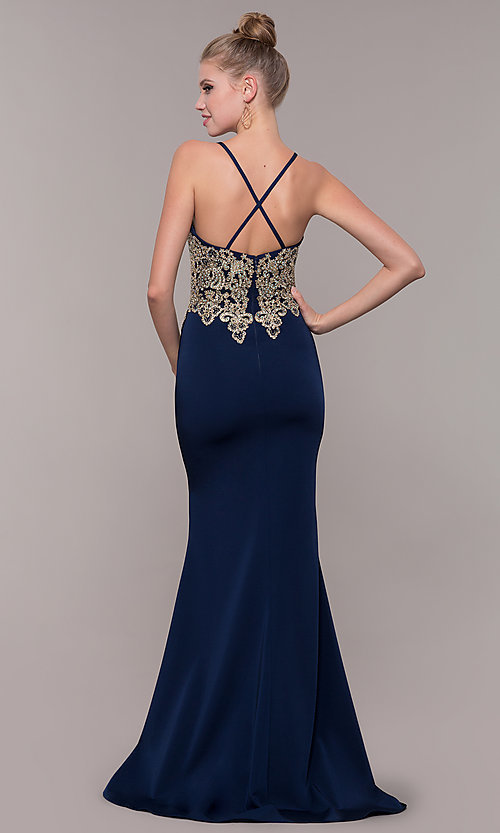 Image of long prom dress with metallic-embroidered applique. Style: CD-GL-G823 Back Image