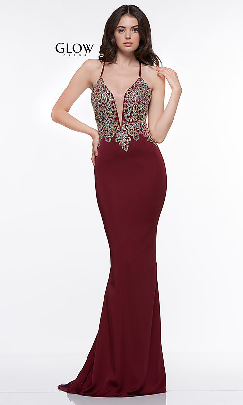 Image of long prom dress with metallic-embroidered applique. Style: CD-GL-G823 Detail Image 5