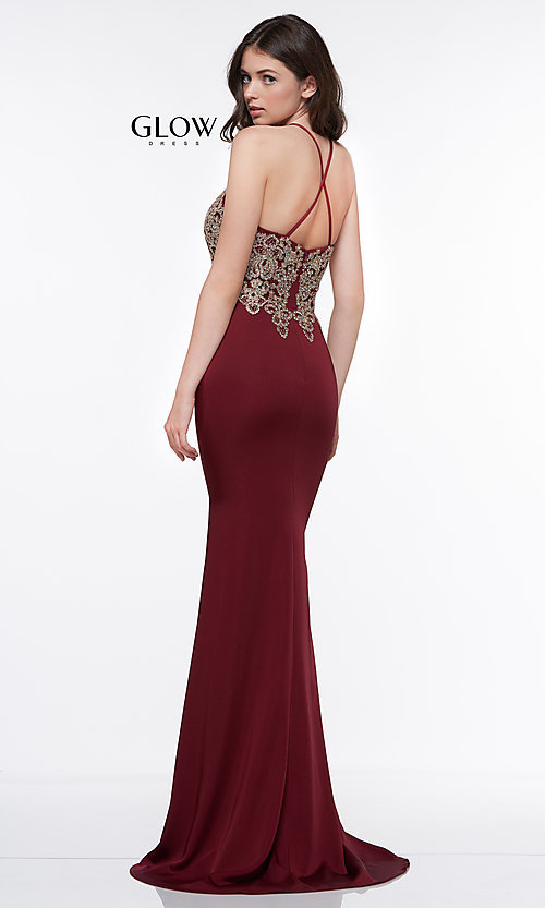 Image of long prom dress with metallic-embroidered applique. Style: CD-GL-G823 Detail Image 6