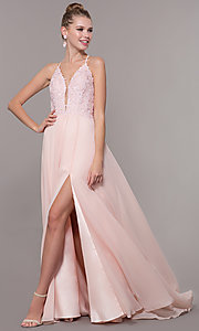 Image of chiffon corset-back long v-neck prom dress. Style: CD-GL-G821 Detail Image 2