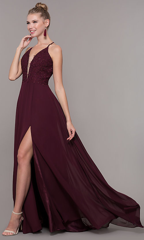 Image of chiffon corset-back long v-neck prom dress. Style: CD-GL-G821 Detail Image 7