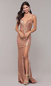 Image of long v-neck sequin-embellished prom dress. Style: CD-GL-G844 Detail Image 3
