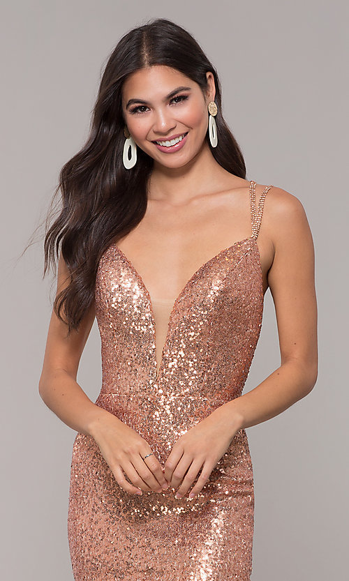 Image of long v-neck sequin-embellished prom dress. Style: CD-GL-G844 Detail Image 1