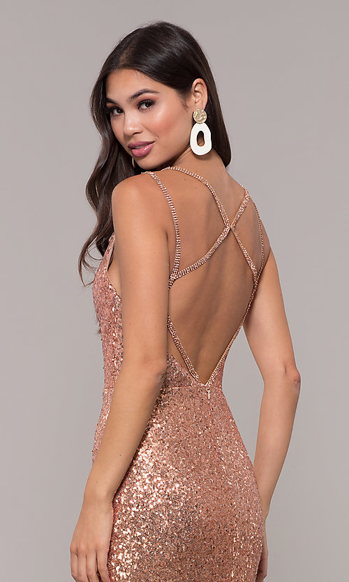 Image of long v-neck sequin-embellished prom dress. Style: CD-GL-G844 Detail Image 2