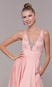 Image of v-neck long satin prom dress with pockets. Style: CD-GL-G813 Detail Image 7