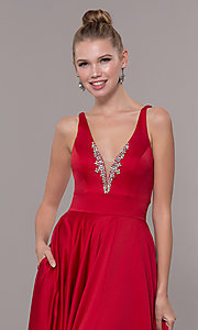 Image of v-neck long satin prom dress with pockets. Style: CD-GL-G813 Detail Image 1