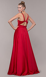 Image of v-neck long satin prom dress with pockets. Style: CD-GL-G813 Back Image