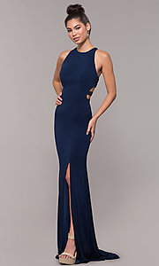 Image of high-neck embellished-caged-back long prom dress. Style: CD-GL-G807 Back Image