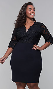 Image of short lace-bodice sleeved plus wedding-guest dress. Style: SOI-PS40042 Detail Image 3