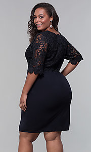 Image of short lace-bodice sleeved plus wedding-guest dress. Style: SOI-PS40042 Detail Image 4