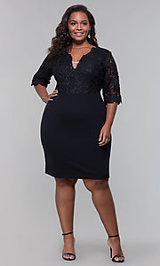 Image of short lace-bodice sleeved plus wedding-guest dress. Style: SOI-PS40042 Detail Image 7