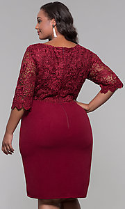 Image of short lace-bodice sleeved plus wedding-guest dress. Style: SOI-PS40042 Back Image