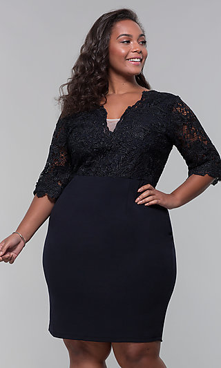 Short Lace-Bodice Sleeved Plus Wedding-Guest Dress