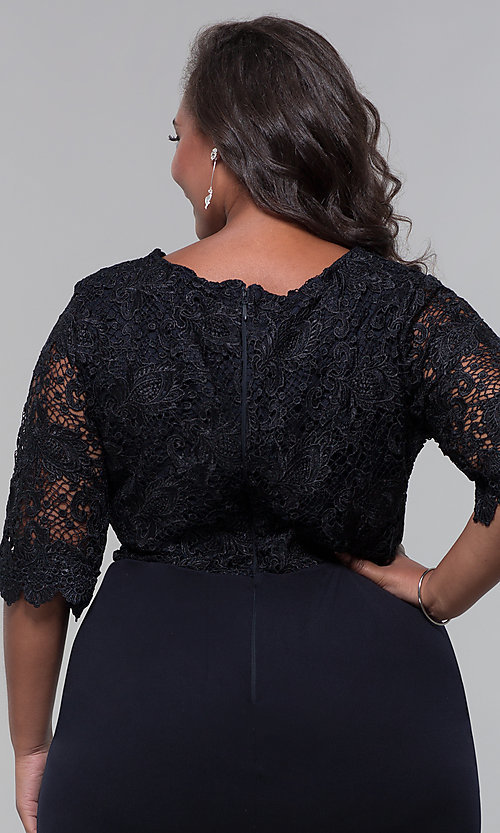 Image of short lace-bodice sleeved plus wedding-guest dress. Style: SOI-PS40042 Detail Image 6