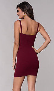 Image of fitted sheath short burgundy red party dress. Style: BLU-BD9042-1 Back Image