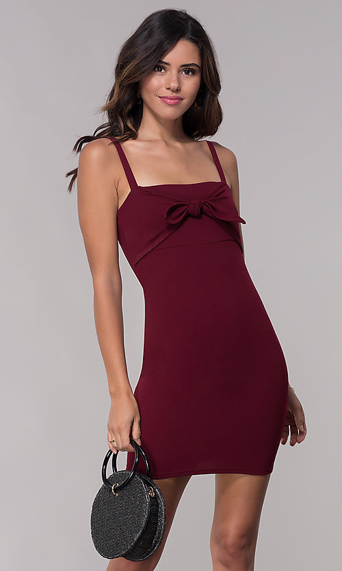 Image of fitted sheath short burgundy red party dress. Style: BLU-BD9042-1 Front Image