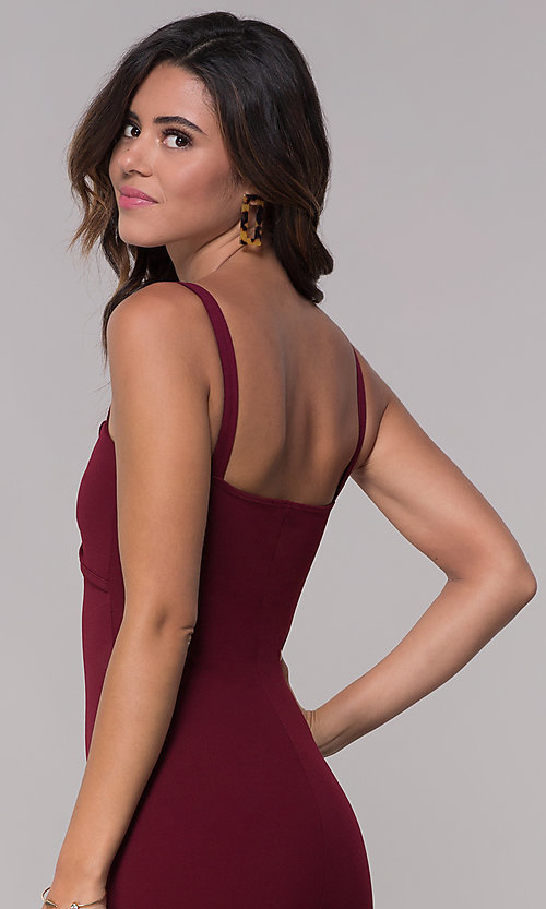 Image of fitted sheath short burgundy red party dress. Style: BLU-BD9042-1 Detail Image 2