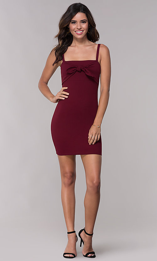 Image of fitted sheath short burgundy red party dress. Style: BLU-BD9042-1 Detail Image 3