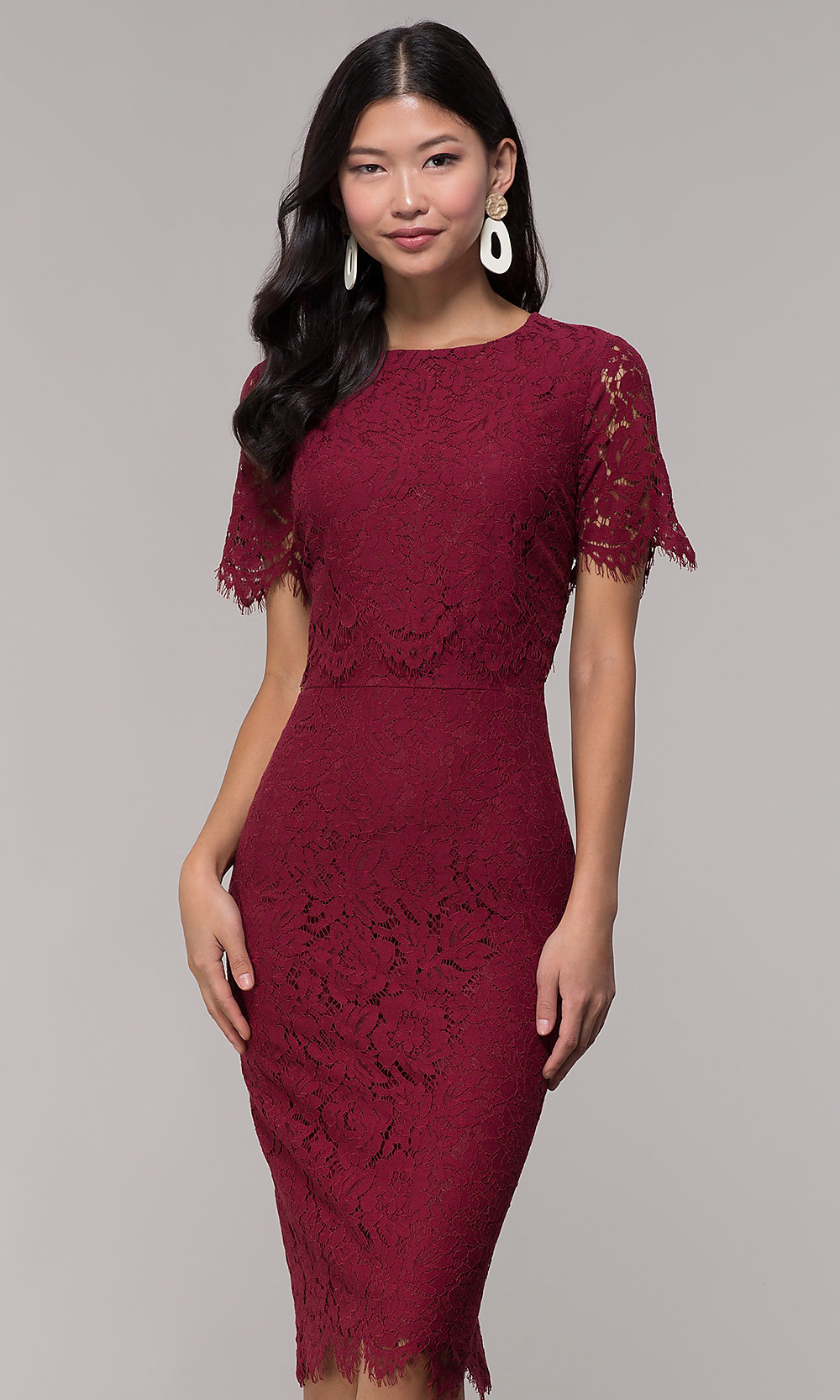 Midi Burgundy Lace Holiday Popover Dress Promgirl