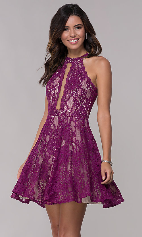 Image of racerback short high-neck lace party dress. Style: LP-25081 Detail Image 2