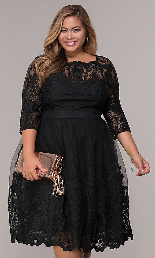 Image of short embroidered-mesh plus-size party dress. Style: LP-25071P Front Image
