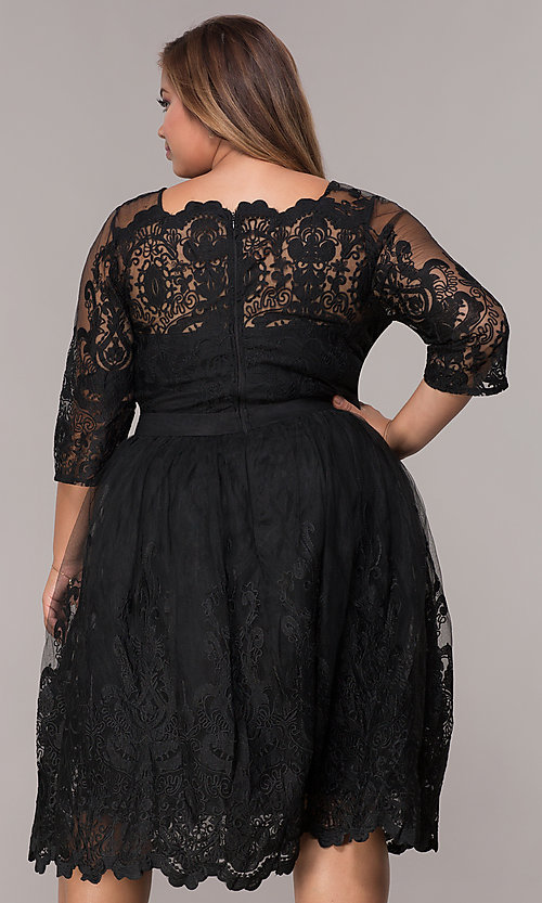 Image of short embroidered-mesh plus-size party dress. Style: LP-25071P Back Image