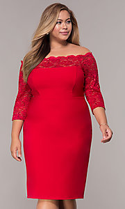 Image of 3/4-sleeve knee-length off-the-shoulder party dress. Style: MCR-2080 Front Image