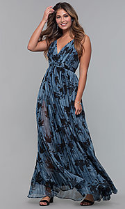 Image of long chiffon print v-neck wedding guest dress. Style: LUX-LD5049 Detail Image 3