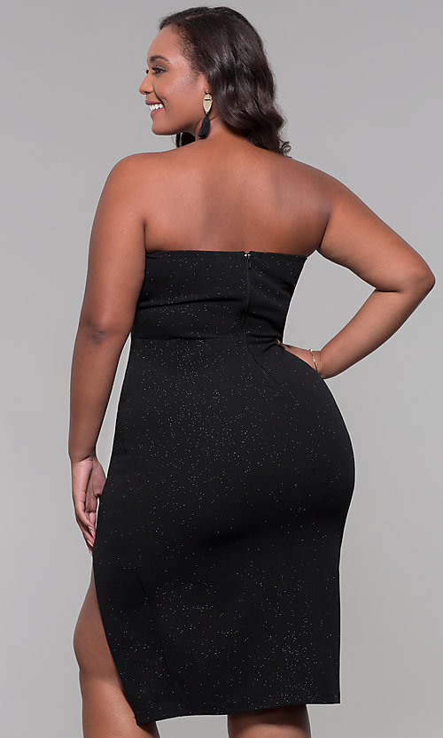 Image of knee-length strapless plus-size holiday party dress. Style: SY-IXD6066VP Back Image