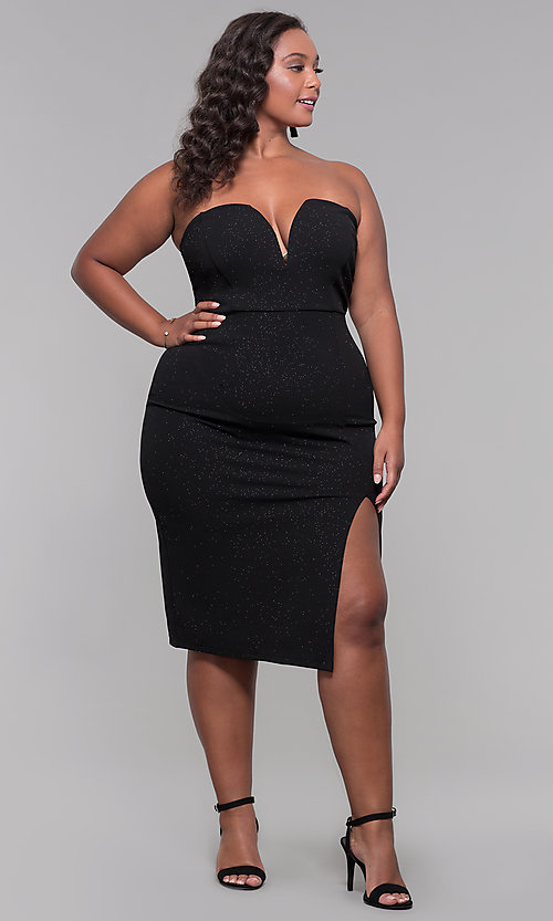 Image of knee-length strapless plus-size holiday party dress. Style: SY-IXD6066VP Detail Image 2