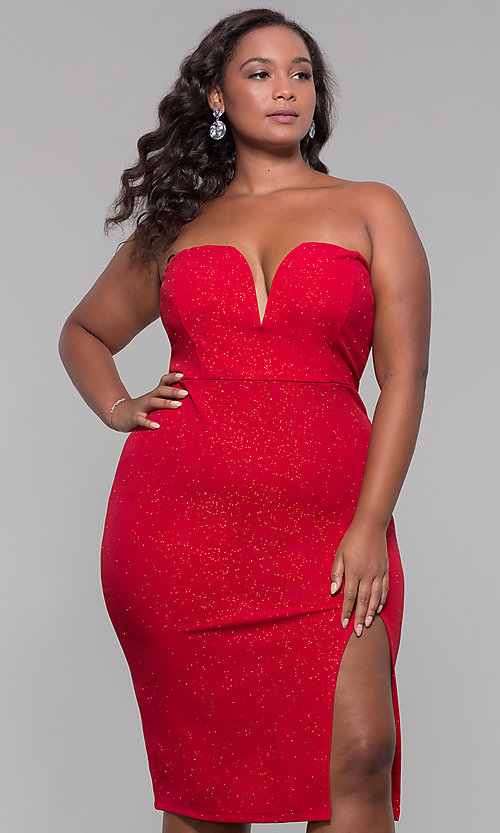 Image of knee-length strapless plus-size holiday party dress. Style: SY-IXD6066VP Detail Image 3