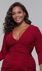 Image of short plus-size wine red holiday dress with glitter. Style: SY-IXD6078AP Detail Image 1