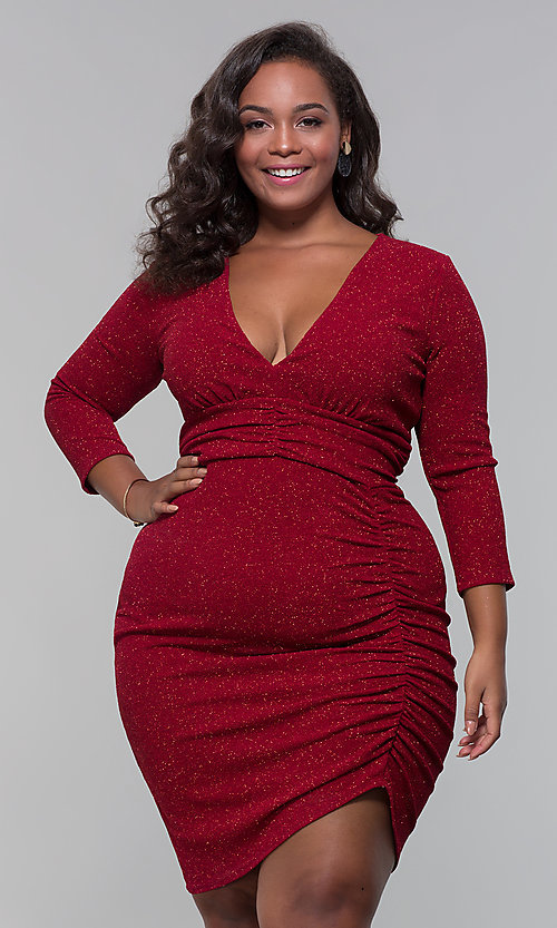 Plus-Size Glitter Wine Red Holiday Dress - PromGirl