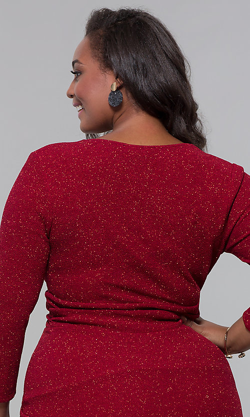 Image of short plus-size wine red holiday dress with glitter. Style: SY-IXD6078AP Detail Image 2