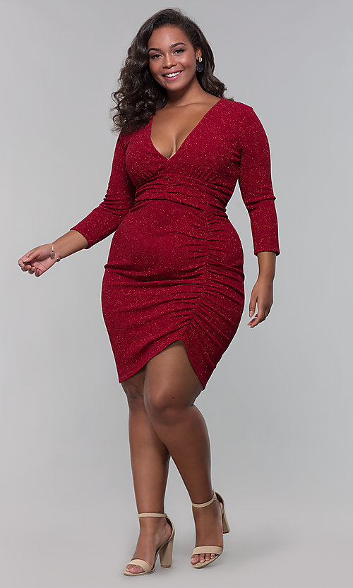 Image of short plus-size wine red holiday dress with glitter. Style: SY-IXD6078AP Detail Image 3