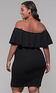 Image of holiday party short plus-size off-the-shoulder dress. Style: SY-IXD6079AP Back Image