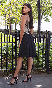 Image of short sleeveless Dave and Johnny homecoming dress. Style: DJ-A6226b Front Image