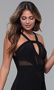 Image of little black party dress with bodice cut outs. Style: EM-HBM-1027-001 Detail Image 1