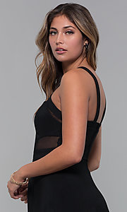Image of little black party dress with bodice cut outs. Style: EM-HBM-1027-001 Detail Image 2