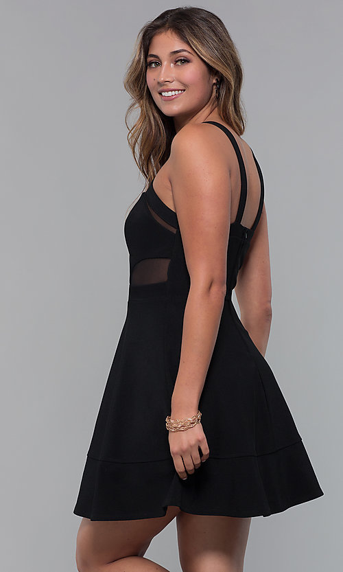 Image of little black party dress with bodice cut outs. Style: EM-HBM-1027-001 Back Image