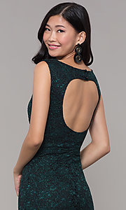 Image of short glitter lace holiday party dress. Style: EM-BKD-3928-024 Detail Image 2